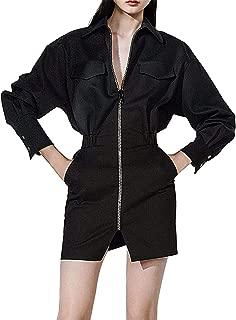Sunlen Women's V-Neck Black Mini Elegant Blazer Dresses Asymmetrical Hem SL1BH5828
