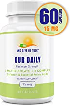 Our Daily Vites L-Methylfolate 15 mg + B Complex Cofactors & Essential Amino Acids - Active Folate, Methylated B12 methylc...
