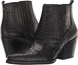 Black Abria Soft Croco Leather