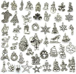 Christmas Charms, JIALEEY Wholesale Bulk Lots Christmas Charm Mixed Tibetan Silver Metal Beads Pendants DIY for Necklace B...