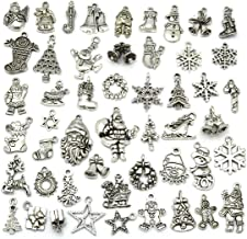 Christmas Charms, JIALEEY Wholesale Bulk Lots Christmas Charm Mixed Tibetan Silver Metal Beads Pendants DIY for Necklace Bracelet Jewelry Making Crafting and Christmas Ornaments