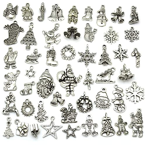 1daa27f99 Christmas Charms, JIALEEY Wholesale Bulk Lots Christmas Charm Mixed Tibetan  Silver Metal Beads Pendants DIY