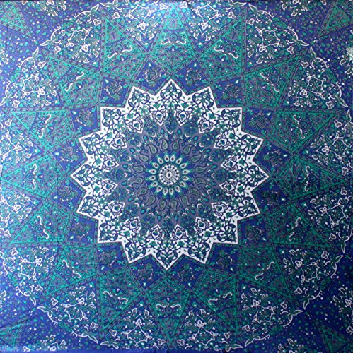 Craftozone Multicolored Mandala Tapestry Indian Wall Hanging, Bed Sheet, Comforter Picnic Beach Sheet, Quality Hippie (Blue Star, Double)