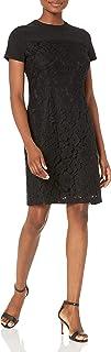Marca Amazon - Lark & Ro Short Sleeve Lace Mixed Dress Mujer