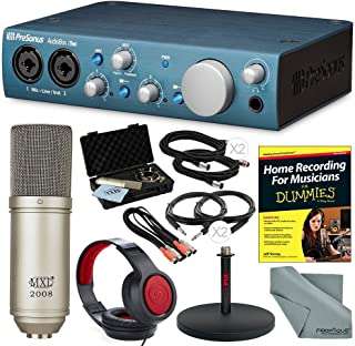 PreSonus AudioBox iTwo USB 2.0 Recording Interface and Deluxe Bundle with Professional Condenser Microphone + Home Recording for Dummies + More