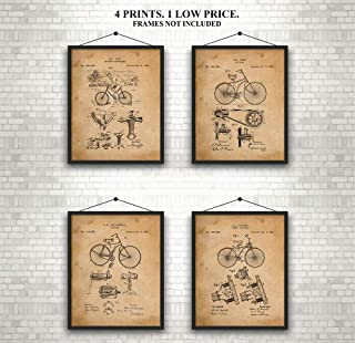 Original Bicycle - Patent Prints - Awesome Set of 4 - Art Wall Decor - 7 year old boy gifts