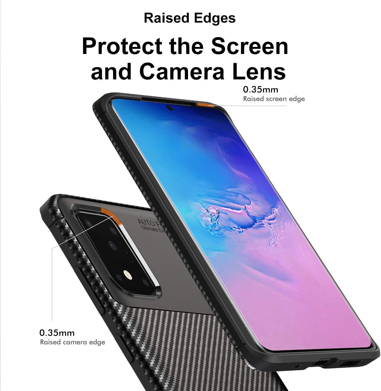 VGUARD Fibra de Carbono Carcasa Ligera Silicona Suave TPU Gel Bumper Caso Case Cover con Shock- Absorci/ón Funda para Sony Xperia 1, Negro+Azul 2 Unidades