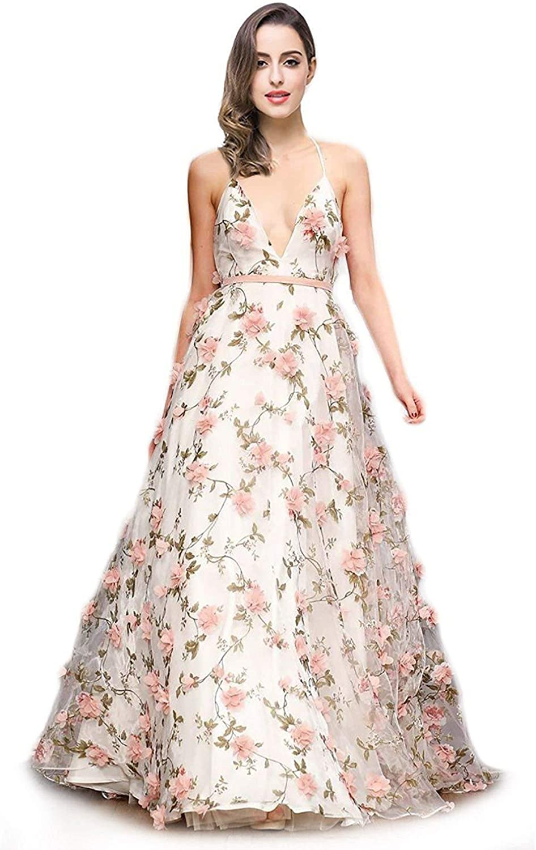 BessWedding Spaghetti Strap VNeck Tulle Prom Dress Women Zipper Back Ball Gown BPS172