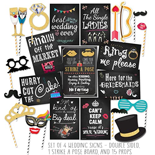 Curiously Fun Wedding Photo Booth Props DIY Kit, Double Sided Chalkboard Cards and Strike-a-Pose Sign - Party Decorations