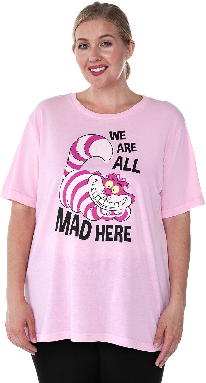 Disney Womens Plus Size T-Shirt Cheshire Cat Alice in Wonderland Print