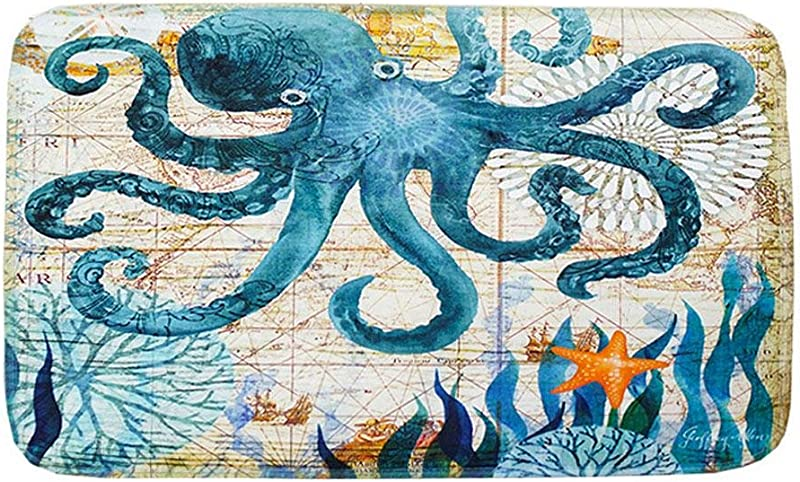 Umiwe Bathroom Mats Sea World Marine Animal Home Bath Shower Bedroom Pad Toilet Floor Doormat Rug Carpet Non Slip Soft Touch Octopus Hippocampus Sea Turtle Whale Pattern