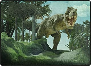 ALAZA Super Soft Modern 3D Dinosaur Area Rugs Living Room Carpet Bedroom Rug for Children Play Solid Home Decorator Floor Rug and Carpets 63 x 48 Inch