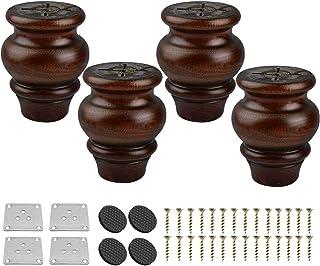 Btowin - Patas de madera maciza para muebles 4 piezas esmaltadas con placa de montaje y tornillos para sofá y sofá