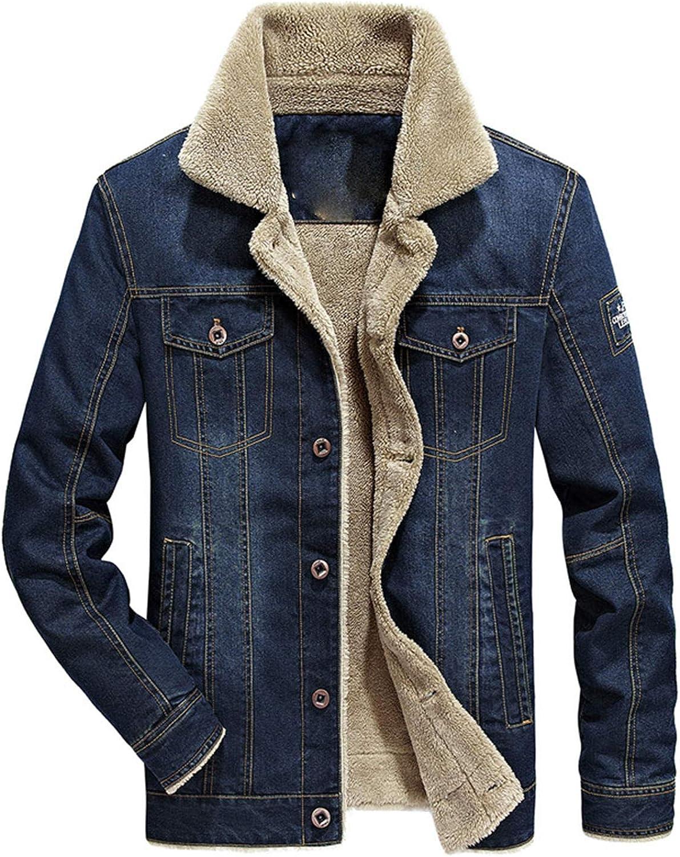 Soluo Men's Winter Warm Fur Lapel Collar Sherpa Fleece Lined Denim Jacket Coats Outerwear Overcoat (Navy Blue,4X-Large)