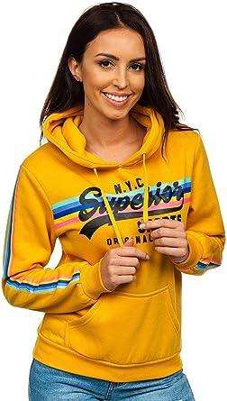 BOLF Mujer Sudadera Cerrada Básica con Capucha Estampada Jersey Blusa Suéter Hoodie Estilo Deportivo Mix A1A