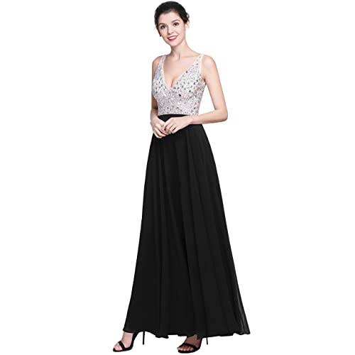 bb9231527f9f QSYE Women's Beaded Prom Dreeses Long V-Neck Chiffon Evening Gowns 2018