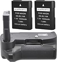 Battery Grip Kit for Nikon D3100 D3200 D3300 Digital SLR Camera Includes Qty 2..