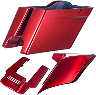 Wicked Red 4 1/2 inch Stretched Extension Saddlebags with Extended Side Covers Rear Fender Fit for Harley Touring Road Glide Street Glide Road King Special 2018 2019