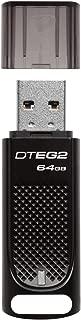 Kingston Digital 64GB DataTraveler Elite G2 Black Metal Casing Fast 180MB/s R, 70MB/W USB 3.1 Flash Drive with LED light indicator (DTEG2/64GB) (Renewed)