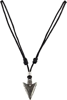 Arrowhead Pendant on Adjustable Black Rope Cord Necklace (Old Silver)