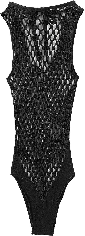 MuFeng Womens Hollow Out Fishnet Bodysuit Long Sleeve Leotard Tops Jumpsuits Beachwear