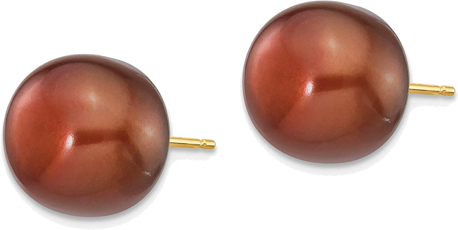 11-12mm Coffee Button Freshwater Cultured Pearl Stud Post Earrings in 14K Yellow Gold