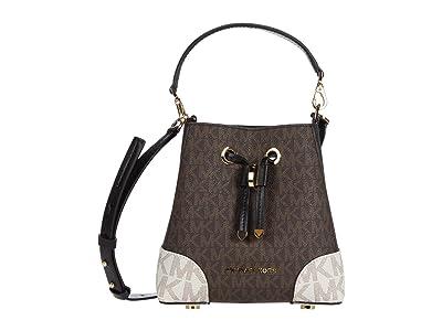 MICHAEL Michael Kors Mercer Gallery Extra Small Convertible Bucket Crossbody (Brown Multi) Cross Body Handbags