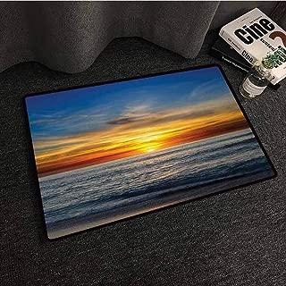 SONGDAYONE Durable Door mat Ocean Sunset Over Pacific Ocean from La Jolla California Sunlight Colored Sky Photo Print Protective Floor Orange Blue,W19 xL31