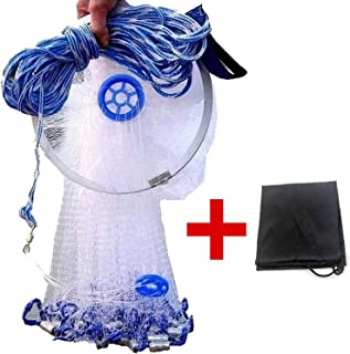 EASY BIG American Fishing Cast Net with Aluminum Frisbee for Bait Trap Fish Dia:7.8ft/9.8ft/11.8ft/13.7ft, 0.8inch Mesh Size