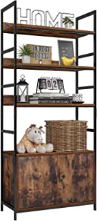 Homfa Industrial Bookcase with 2 Cabinets, 3-Tier Free Standing Open Shelf Display Storage Rack Shelves, 31L x 11.8W x 70....