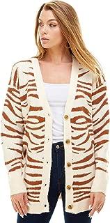 Alexander + David A+D Womens Button Down Zebra Knit Cardigan - Contrast Pattern Sweater