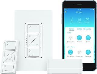 Lutron P-BDG-PKG1W Caseta Wireless Dimmer Kit with Smart Bridge, White