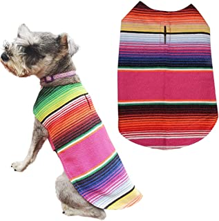 Lamphyface Pet Costume Dog Clothes Poncho Reversible Plaid Coat Apparel Mexican Serape