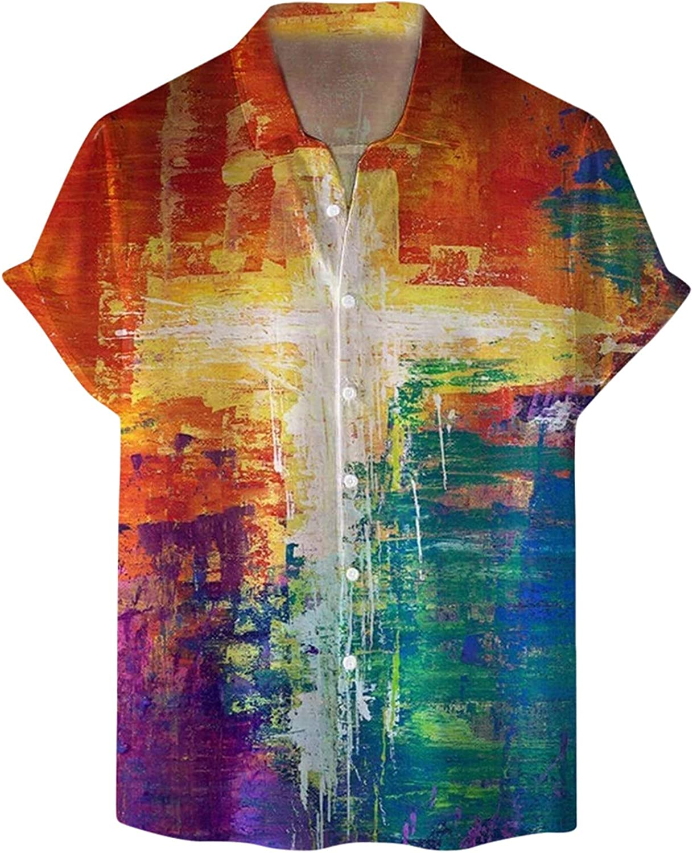 Mens Short Sleeve Button Down Shirts Fashion Graphic Printed Tops Tie Dye Fitness Tees Casual Summer Beach T Shirt