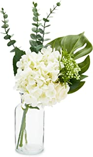 Farmlyn Creek Artificial Hydrangea Flowers and Monstera Leaf with Glass Vase, Home Decor