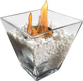 PURLINE PTELEA Biochimenea de sobremesa de cristal templado con apagador de llama