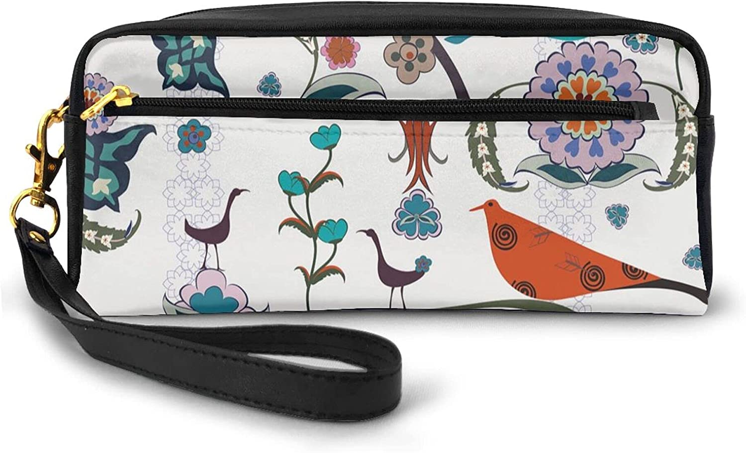 Pencil Case Large Capacity Pen Pouch Stationery Foldable,Floral Flowers Swirls Ivy Buds Birds Leaves Ethnic Bohem Inspired Artistic Image,Boy Girl College High School with Zipper