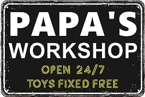 Teeshell Papa's Workshop Decor 8 x 12 Inch Vintage Metal Aluminum Novelty Tin Signs (Papa)
