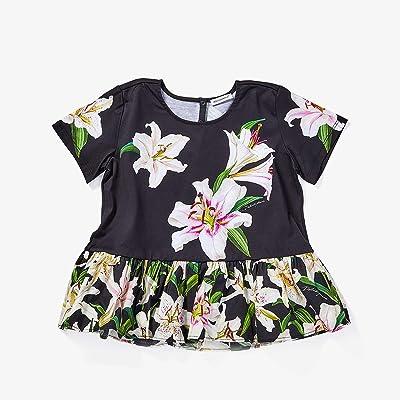 Dolce & Gabbana Kids Lily Print Jersey and Poplin T-Shirt (Big Kids) (Gigli Nero) Girl