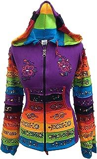 Women Rainbow Sleeved Flower Patch Hoodie