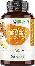 Curcuma Bio, Poivre Noir et Gingembre Bio - 365 Gélules Vegan Haute Absorption WeightWorld - Curcumine Bio, Pipérine - Turmeric Capsules Source de Vitamine C Antioxydant, Vitamine E, Fabriqué en UE