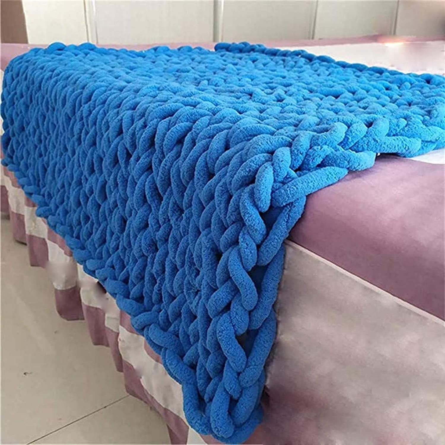 YXYH Chunky Knit Blanket Soldering Chenille Throws Decor Indefinitely Home Lux Blankets