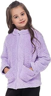 Girls' Fleece Sherpa Jacket Long Sleeves Fuzzy Fleece Full Zip Winter Coat for Toddler Girls 3T 4T 5T with Pockets