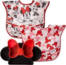 Disney Minnie Silicone Grip Dish w/ Bib 2-Pack