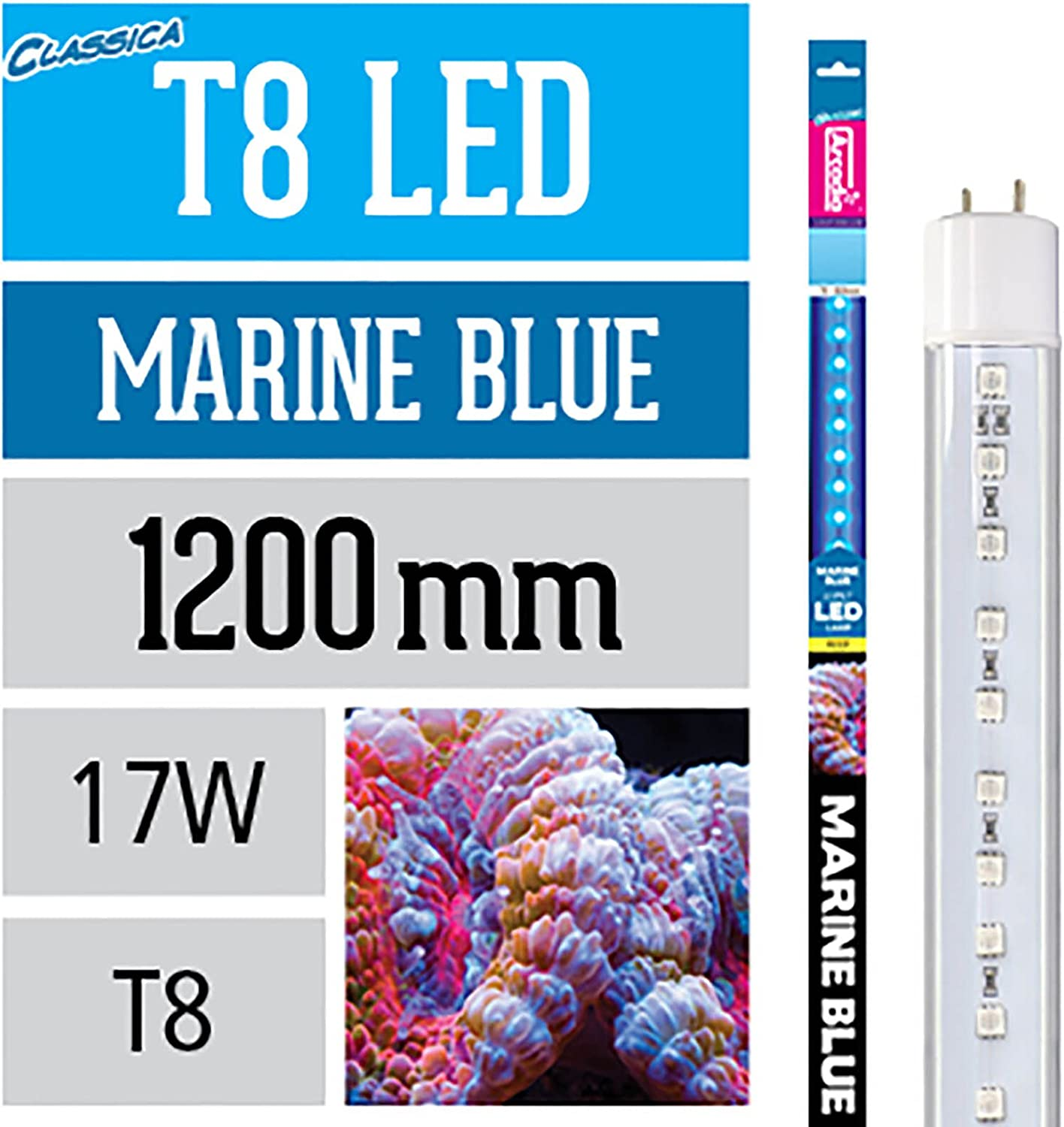 Arcadia Classica T8 Marine bluee LED Aquarium Lamp 17W  Length 1200mm   48