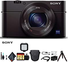 Sony Cyber-Shot DSC-RX100 III Camera DSCRX100M3/B with Soft Bag, Tripod, 2X Extra Batteries, LED Light, 2X 64GB Memory Card, Card Reader, Plus Essential Accessories
