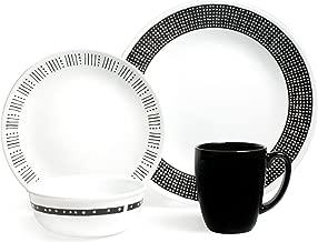 Corelle 3872 Metropolitan Atlanta Dinner Set of 16 Pieces, Black/White