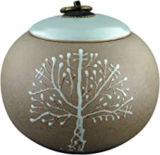 Funeral Urn by Meilinxu -Cremation Urns for Human Ashes Adult and Pet- Hand Made in Ceramics and Hand Engraved - Display Burial Urns at Home Or in Niche at Columbarium (Brown Tree of Life, Medium Urn
