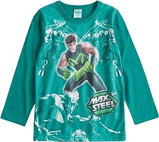 Camiseta Max Steel em Meia Malha Inverno Manga Longa