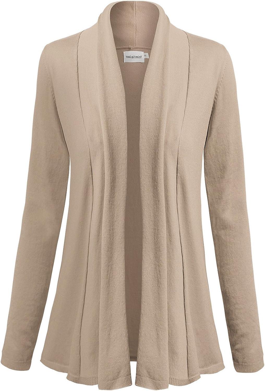 Makeitmint Women's Basic Solid Long Sleeve Open Shawl Flyaway Cardigan [SXL]